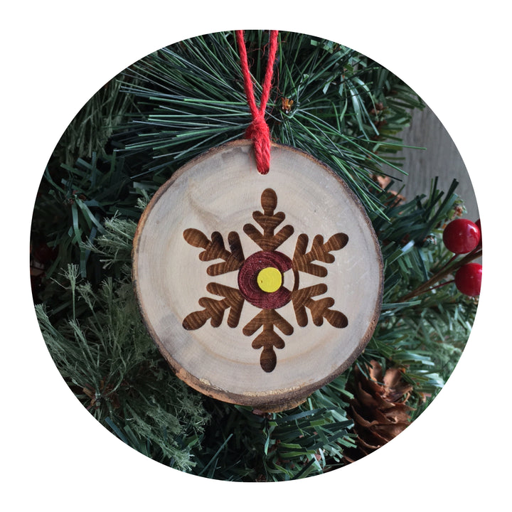 Wood Slice Ornament - Colorado Snowflake