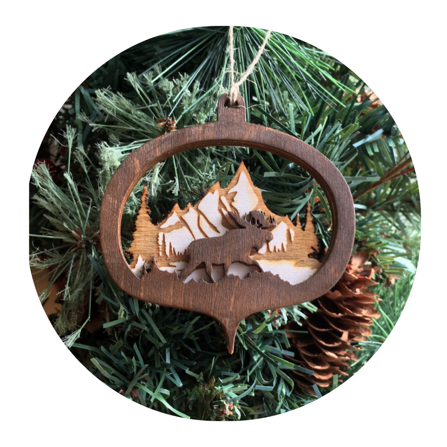 Wooden Layered Moose Ornament