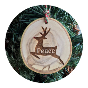 Wood Slice Ornament - Rudolph Peace
