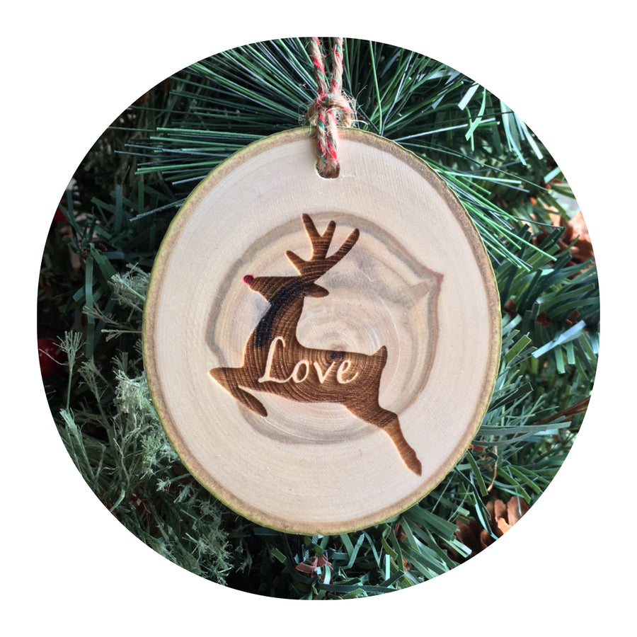 Wood Slice Ornament - Rudolph Love