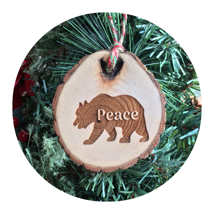 Wood Slice Ornament - Bear Peace
