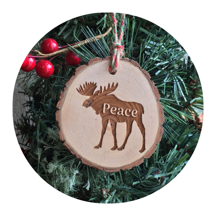 Wood Slice Ornament - Moose Peace