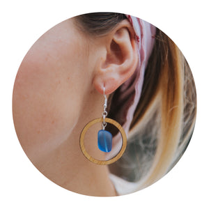 Hoop Sea Glass Earrings
