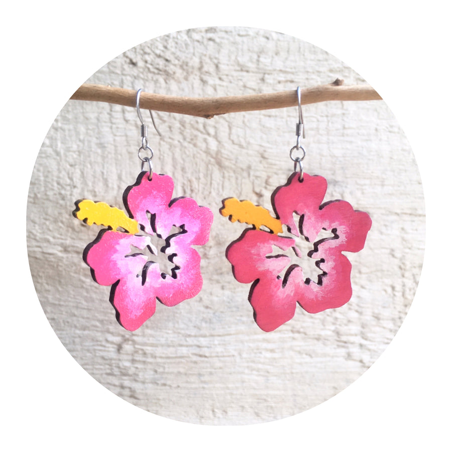 Hibiscus Dangle Earrings