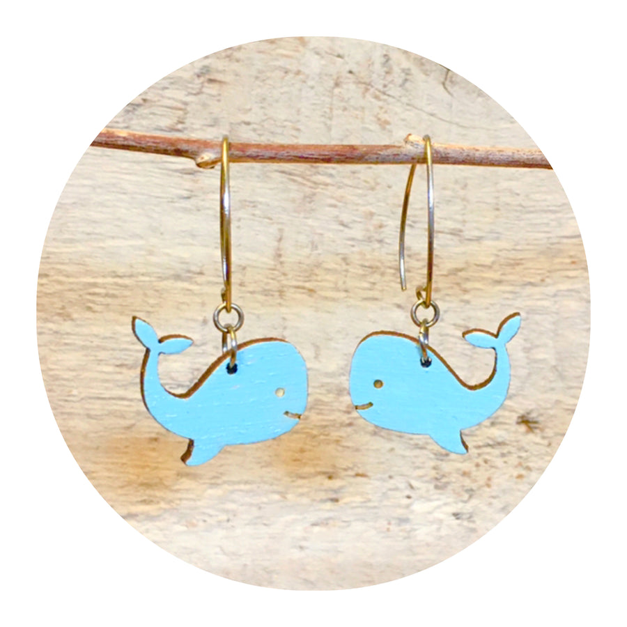 Whale Dangle Earrings