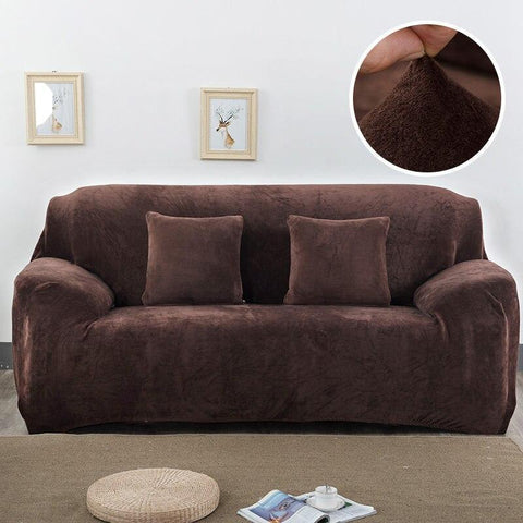 Velvet armchair cover - Dark Brown