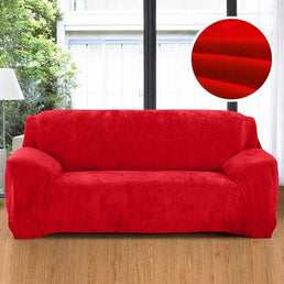 Velvet armchair cover - Red