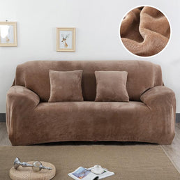 Velvet armchair cover - Light Brown