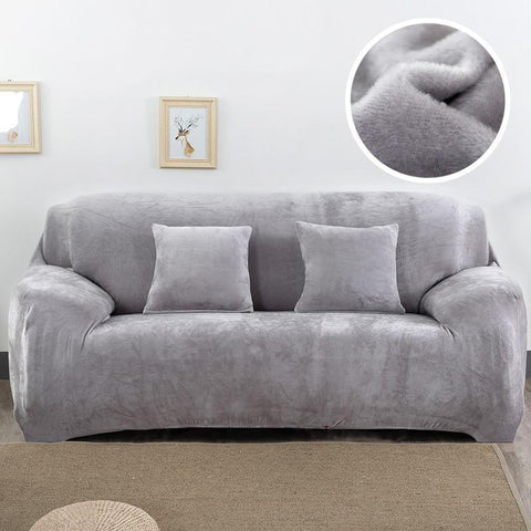 Velvet armchair cover - Grey