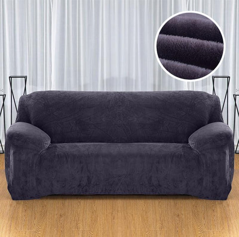 Velvet armchair cover - Dark Grey