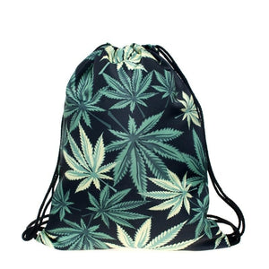 Weed leaf printing travel drawstring backpacks | WeUman Stores