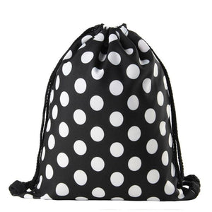 White dots printing travel drawstring backpack | WeUman Stores