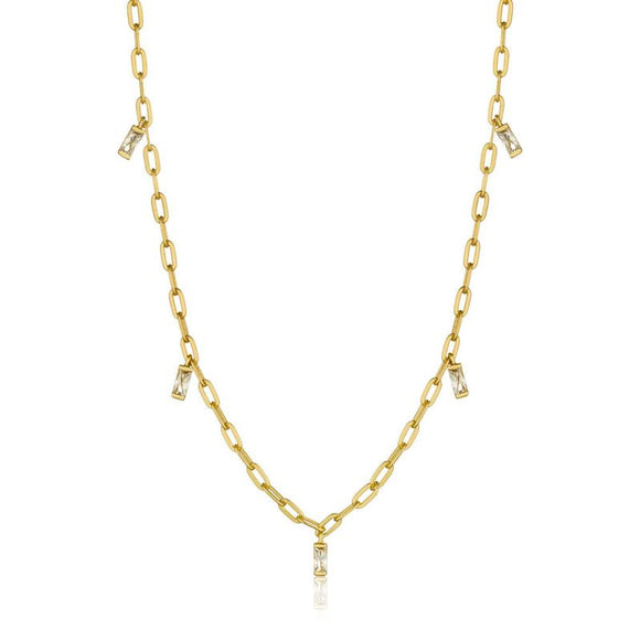 Yellow Gold Sparkly Drop Necklace