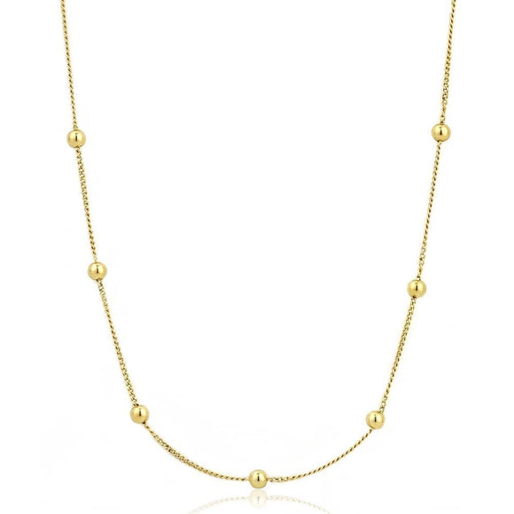 Yellow Gold Beaded Necklace
