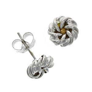 White and Yellow Gold Knot Stud Earrings.