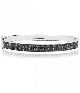 Silver Sparkly Black Bangle