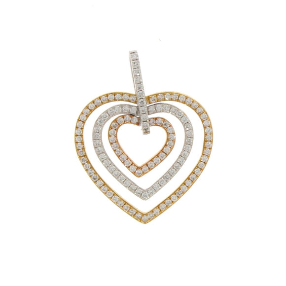 Three Coloured Gold and Diamond Heart Necklace