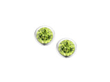 Silver Rub-over Set Coloured Gemstone Studs.