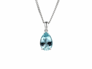 White Gold Pear Shaped Blue Topaz Necklace