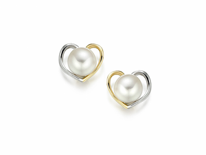 Two Colour Gold Pearl Heart Necklace