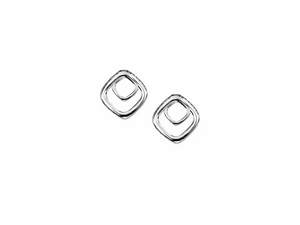 White Gold Square Spiral Stud Earrings.