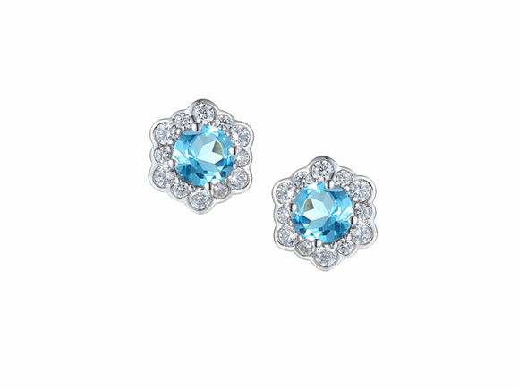 Blue Topaz Vintage Stud Earrings