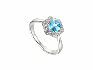 Silver Blue Topaz and Cubic Zirconia Cluster Ring