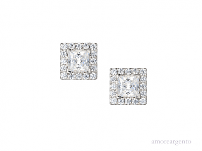 Silver Square Halo Cubic Zirconia Stud Earrings