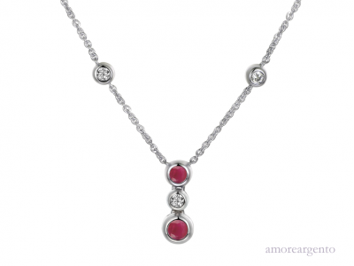 Silver and Ruby Orb Necklace.