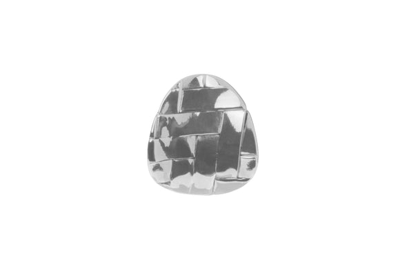 Silver Soft Triangular Shaped Weave Stud Earrings.