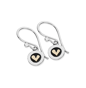Silver and 9ct Gold Drop Heart Earrings