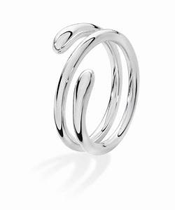 Silver Coil Drop Ring.