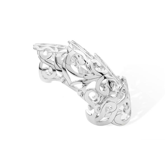 Silver Four Section Hinged Armour Ring