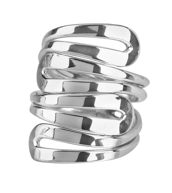 Silver four loop ring
