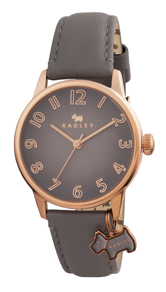 Radley Women's Blair Leather Strap Charm Watch, Grey