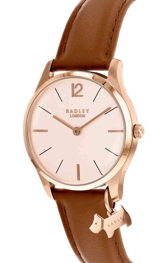 Radley Women's Millbank Leather Strap Charm Watch, Tan