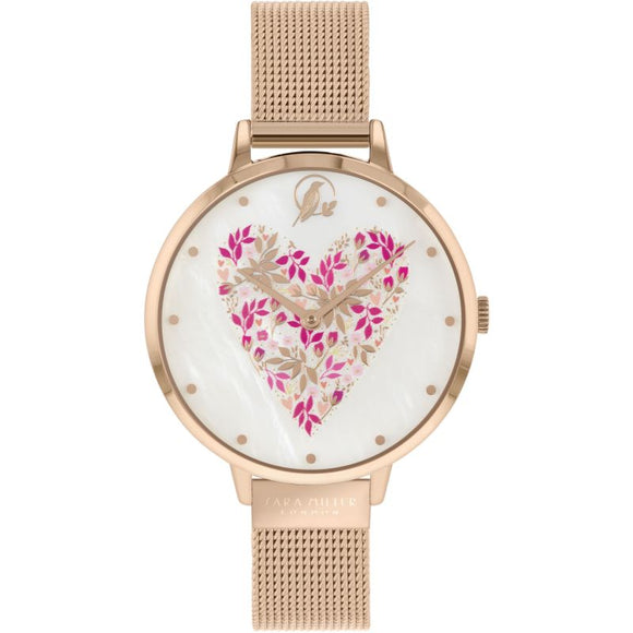 Rose Gold Heart Dial Watch