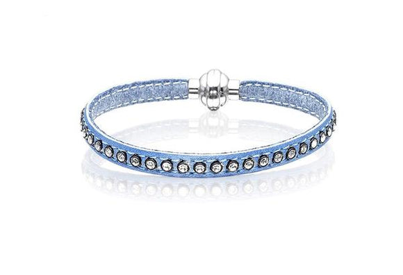 Blue or Silver Leather Cubic Zirconia Bracelet