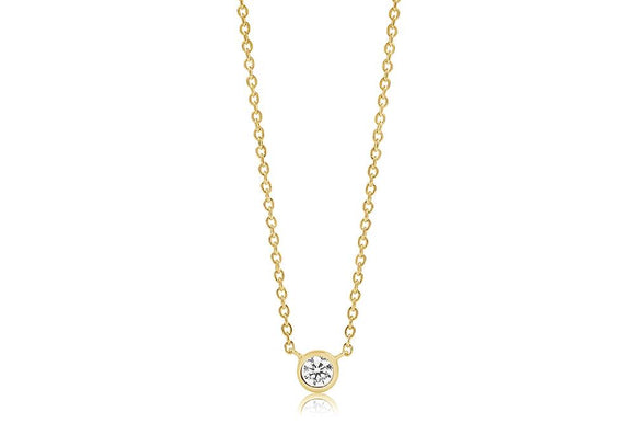 Yellow Gold Classic Solitaire Necklace
