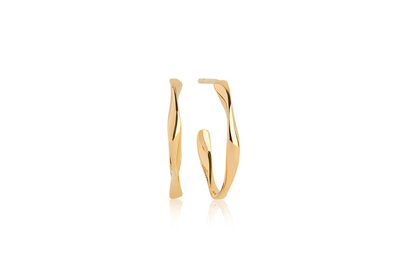 Yellow Gold Twisted Hoop Earrings