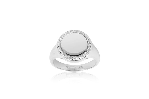 Silver Round, Stone Edged Ring.