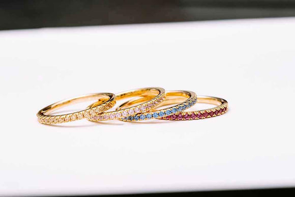 Yellow Gold Coloured Stackable Rings.