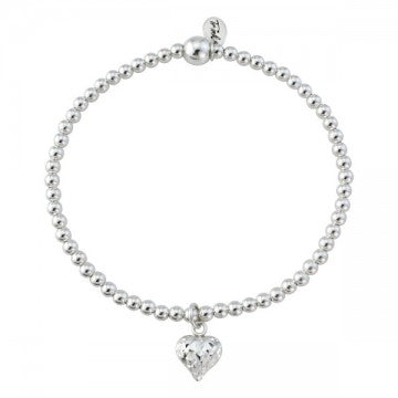 Silver Diamond cut Heart Bracelet