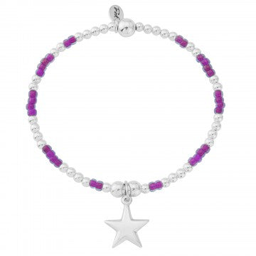 Silver and Purple Puffed Star Bracelet
