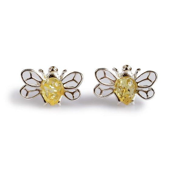 Silver and Amber Stud Earrings.
