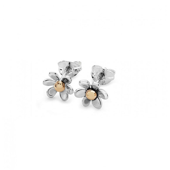 Silver and 9ct Gold Daisy Stud Earrings