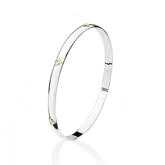 Silver and 9ct Yellow Solid Heart Bangle.