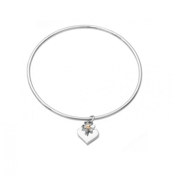 Silver Heart and Daisy Bangle