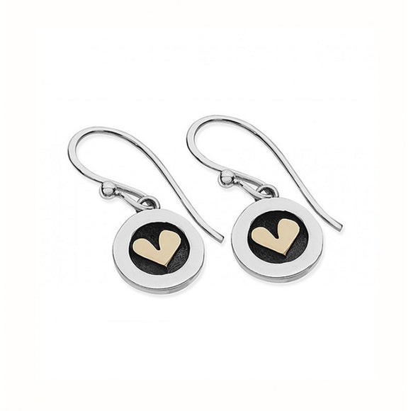 Silver and Gold Heart Drop Earrings
