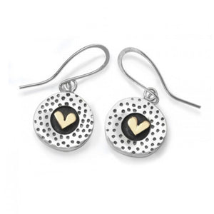 Silver Dot and Heart Drop Earrings